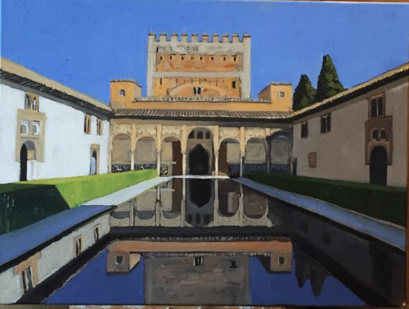 Mont St Michel, France Oil, 24x30, $950    Courtyard of the Myrtles, Alhambra 18x24, $550