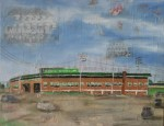 Historic Engel Stadium, oil and collage, 18 x 24, SOLD
