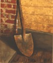 Shovel at cabin, Dig a little, oil on canvas, 10x12, SOLD