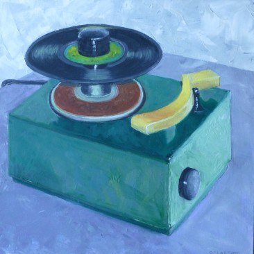 The 45 Player, Oil on Canvas, 18 x 18, $375
