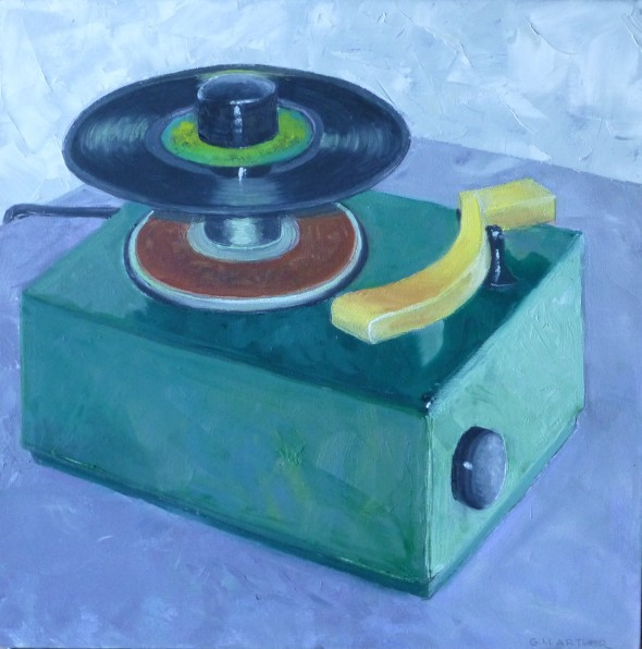The 45 Player, oil on canvas, 18x18, $375