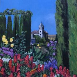 The Alhambra Gardens, oil, 18×27, $450