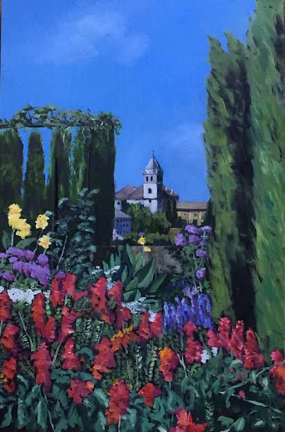 The Alhambra Gardens, oil, 18x27, $450