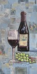 Wine Bottle, oil and collage, 12 x 24, $200