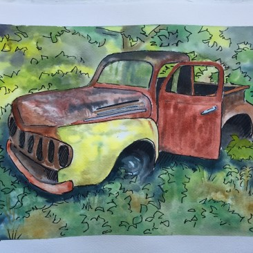 Old Truck, Watercolor and Ink, 11 x 14, SOLD