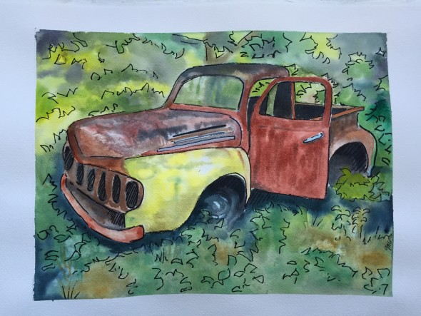 old truck, watercolor and ink, 11x14, $225