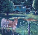 Out to Pasture/ WWII Aarmy Ambulance, 32 x 34, oil on canvas, $900